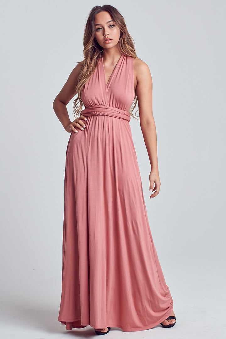 Coco Wrap Maxi Dress (Berry)