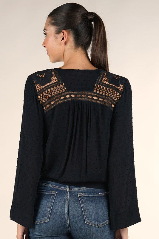 Swiss Dot Bell Sleeve Top (Black) - FINAL SALE