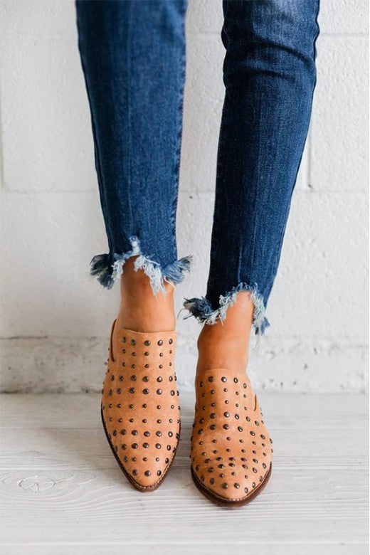 Zeppelin Studded Mules (Whiskey)