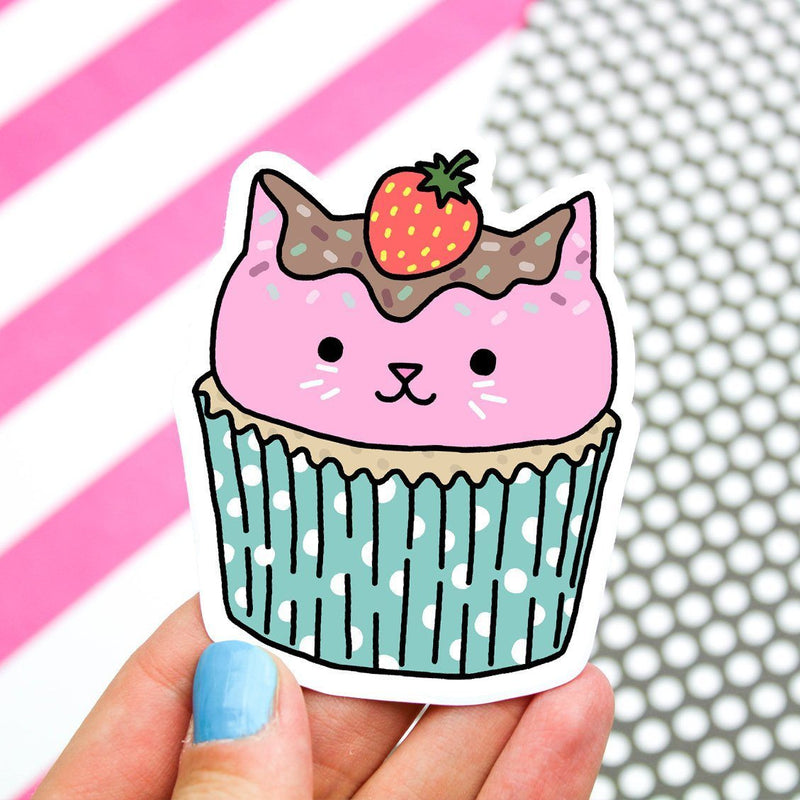 Turtle's Soup - Cupcake Cat Vinyl Sticker