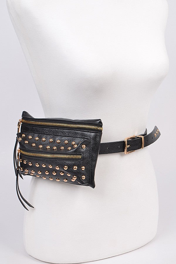 Tempted Studded Belt Bag (Gold) - FINAL SALE