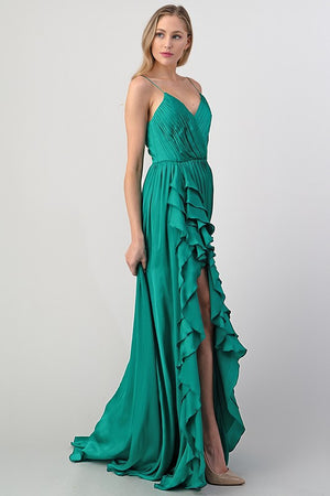 Under The Stars Satin Gown (Green)