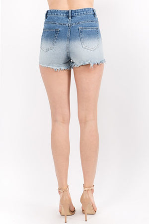 Distressed Ombre Denim Shorts