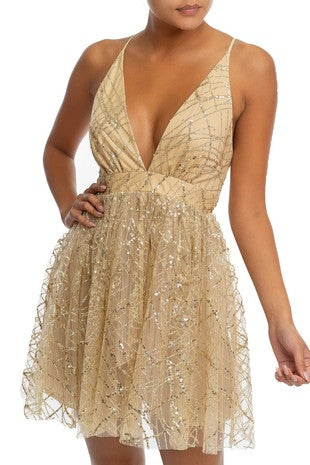 She Shimmers Mini Dress (Gold)