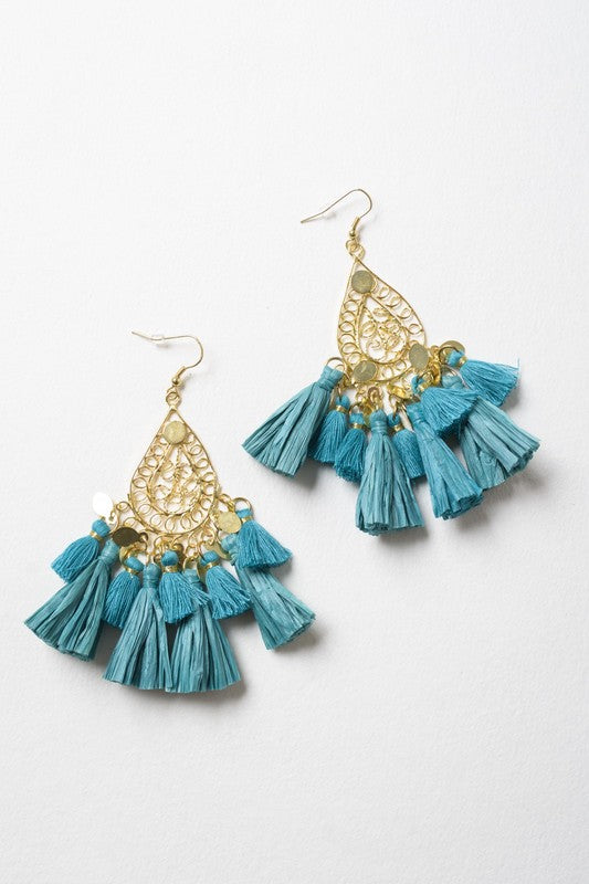Heat Wave Raffia Earrings (Teal)