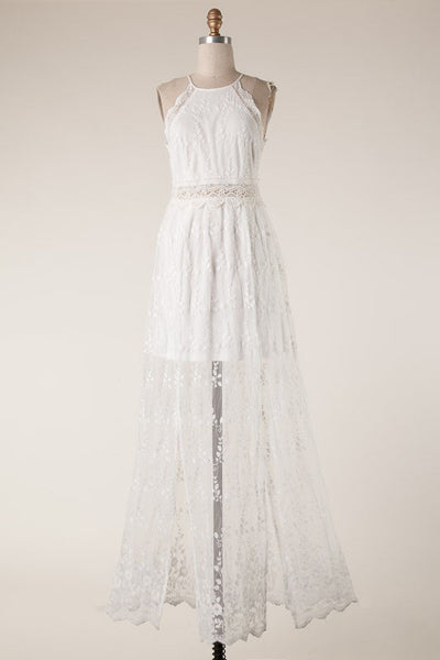 Wild Love Lace Maxi Dress (White)