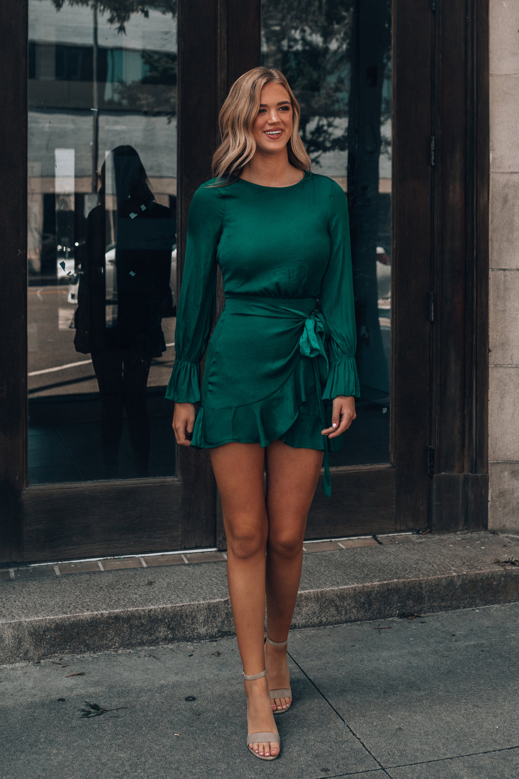 Dinner Party Mini Dress (Forest Green)