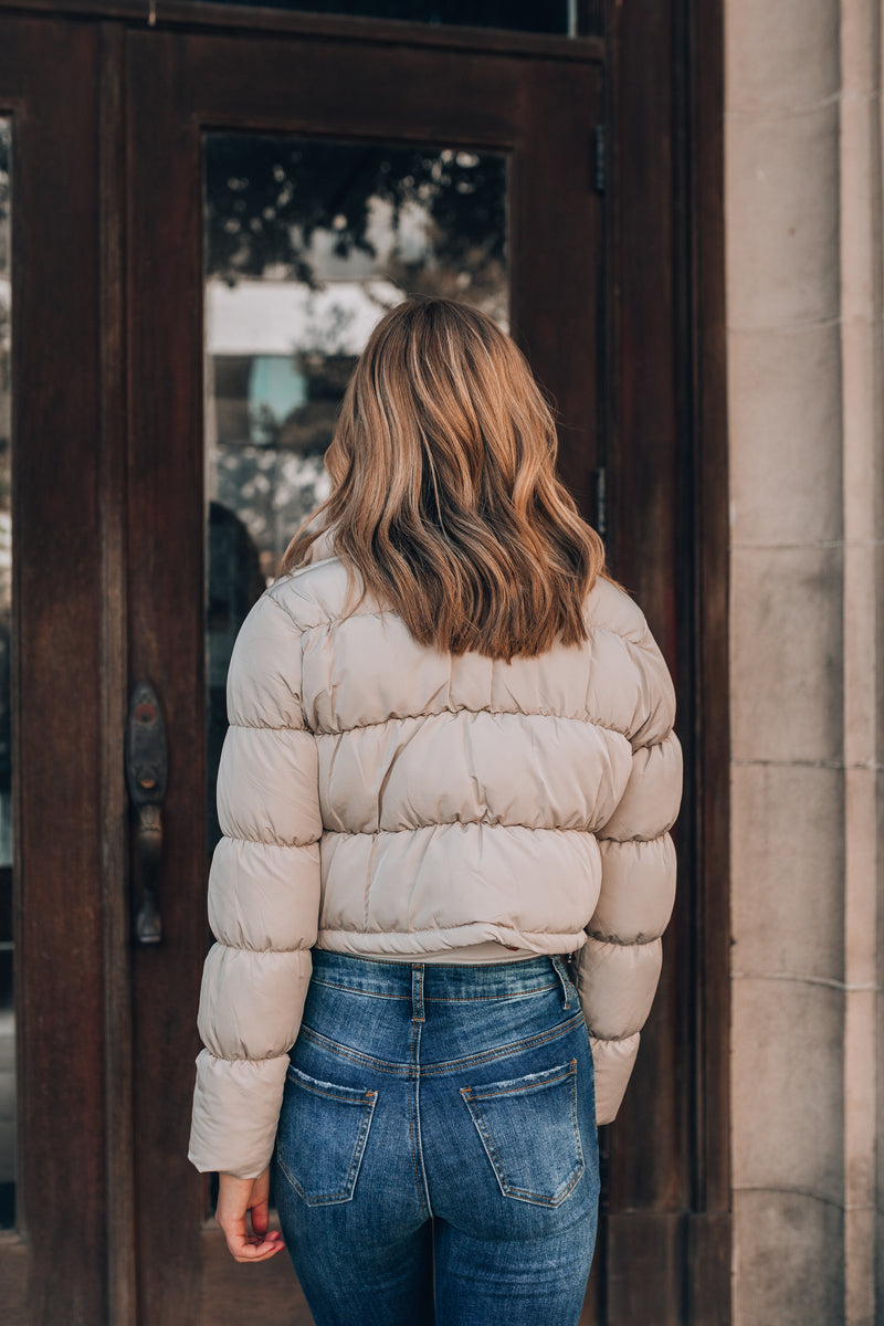 November Rain Cropped Puffer Jacket (Cream)