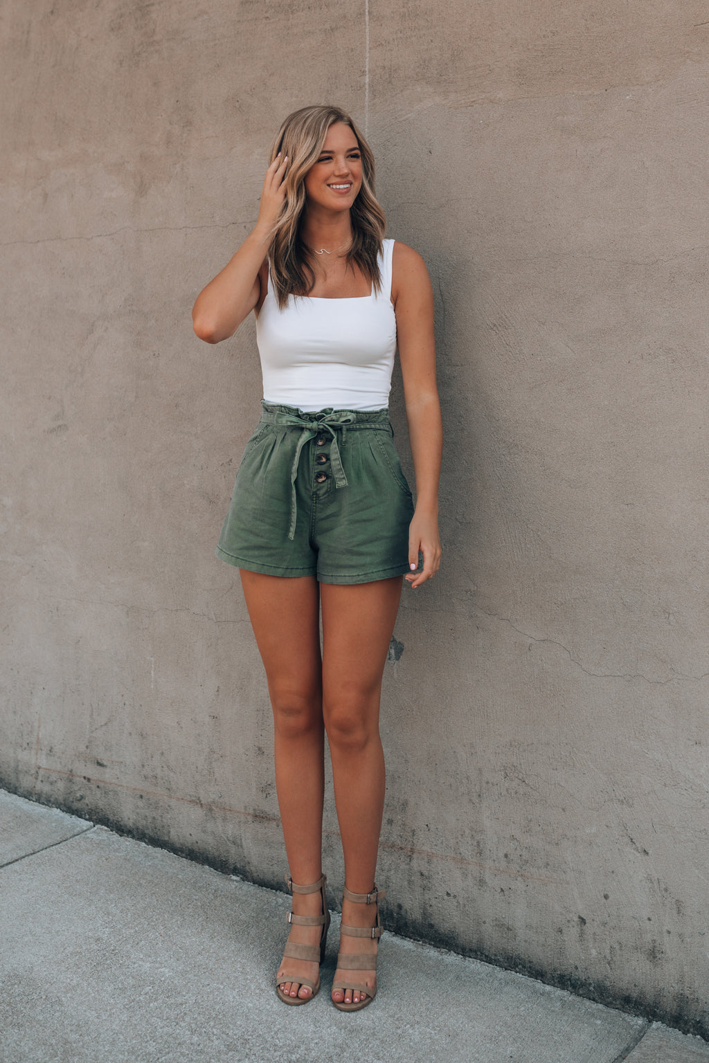 Bonfire Paperbag Shorts (Olive)