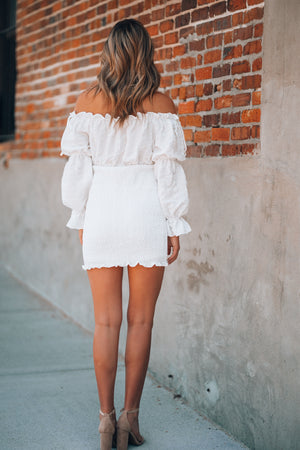 Take The Chance Smocked Mini Dress (Ivory)