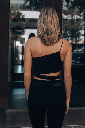 Lexie Cinch Crop Top (Black)