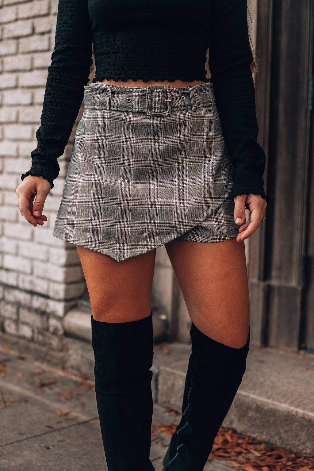 All Business Plaid Skort