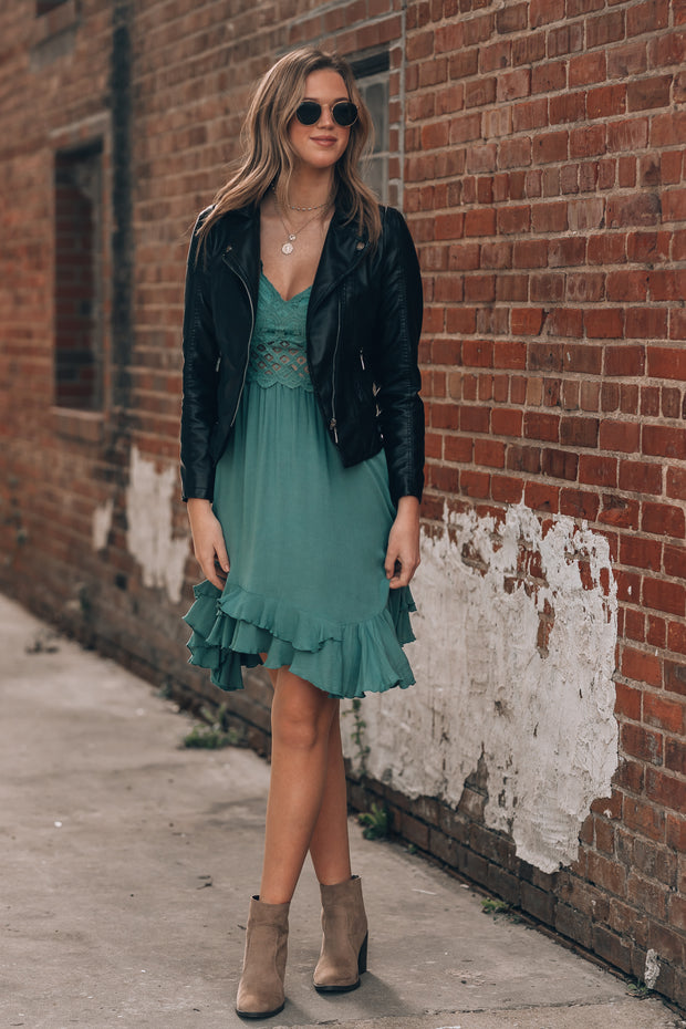 In My Heart Lace Mini Dress (Teal)