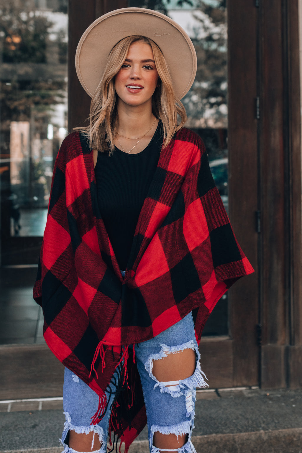Game Day Buffalo Plaid Wrap (Red/Black)