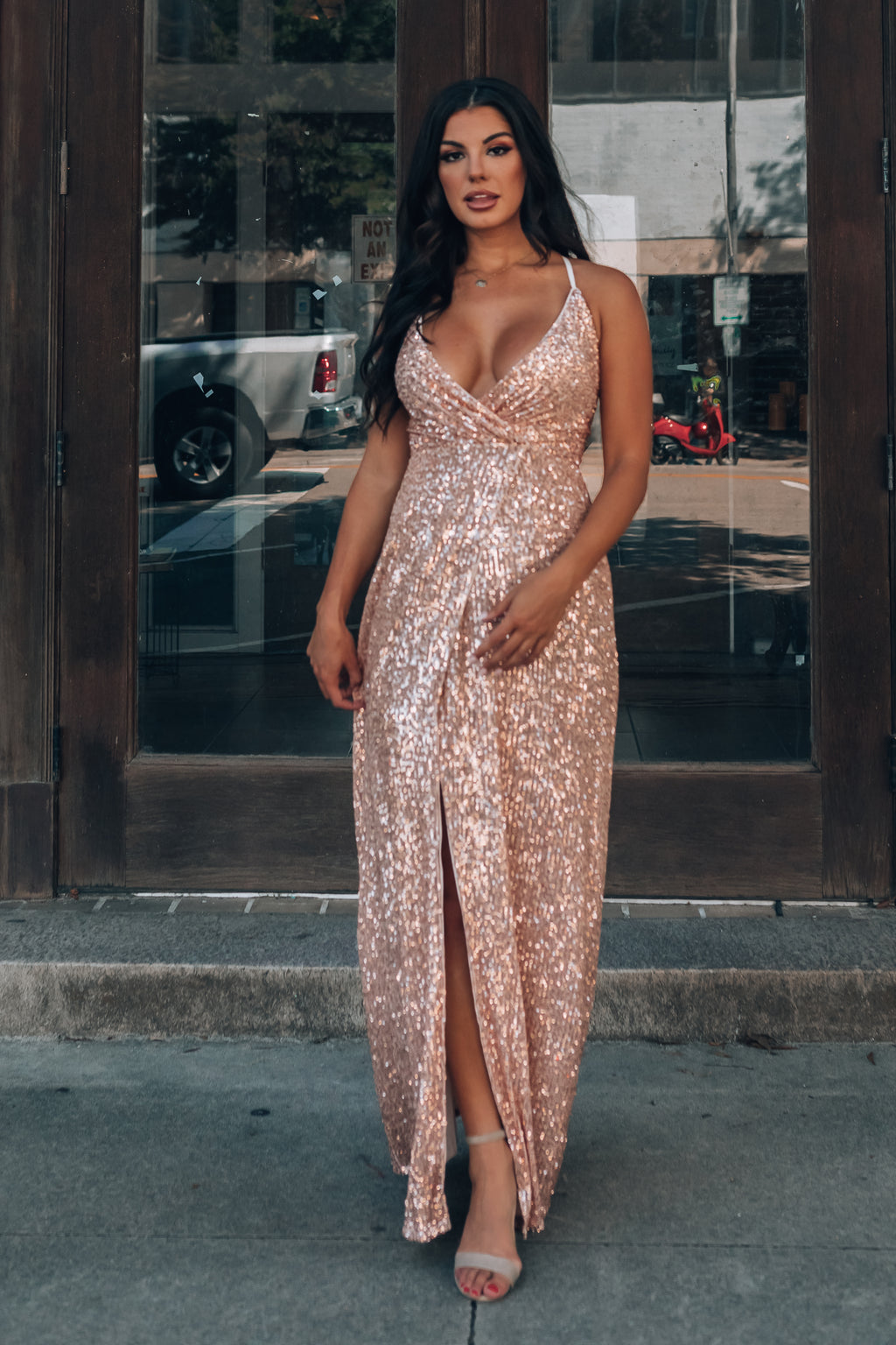 Gwen Sequin Gown (Rose Gold)