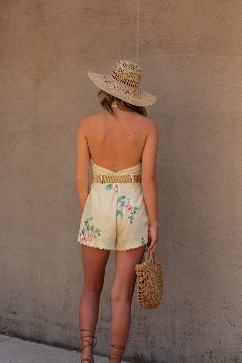 Back In The Day Floral Romper (Pale Yellow) - FINAL SALE