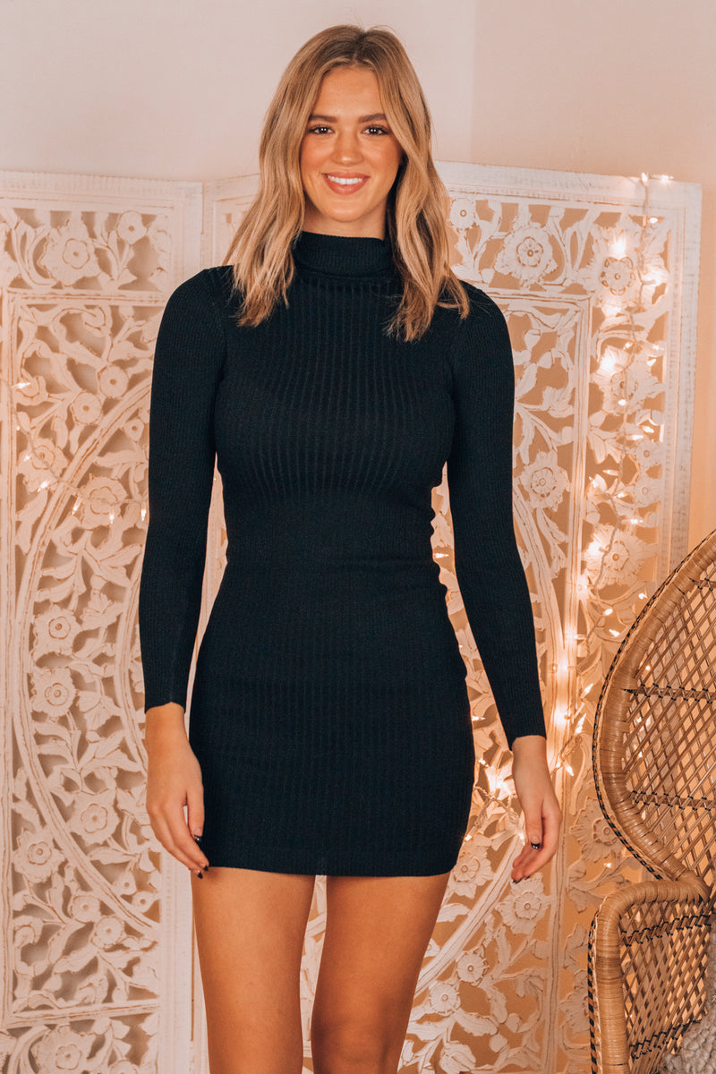 Mix Things Up Sweater Dress (Black)