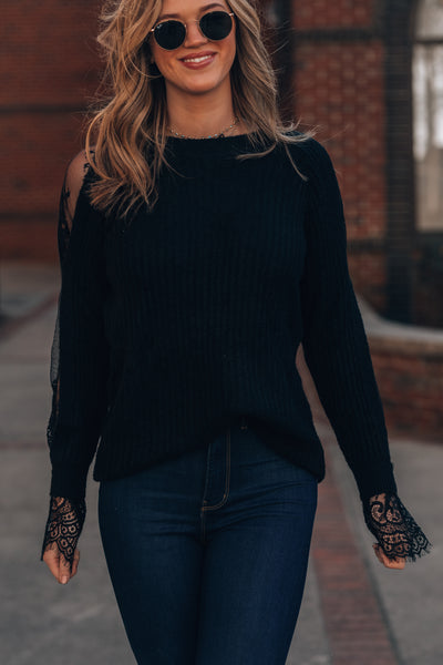 Dakota Lace Sweater (Black)