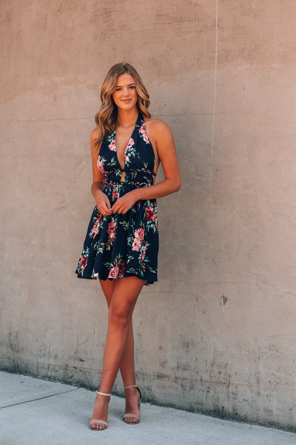 Adore Me Floral Mini Dress (Navy)