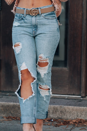 Super Destroyed Girlfriend Jeans (Medium Denim)