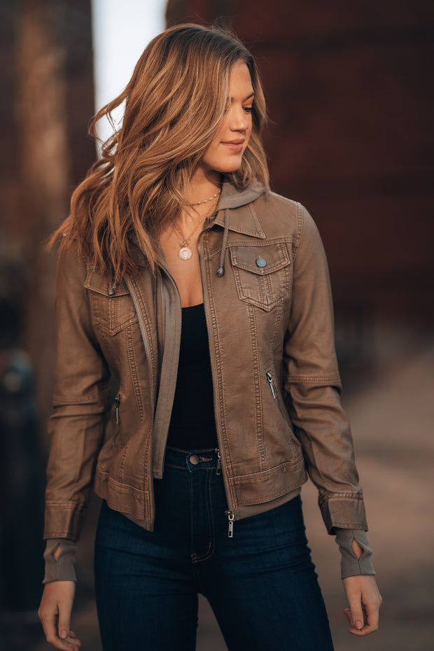 Rolling Stone Vegan Leather Jacket (Khaki)