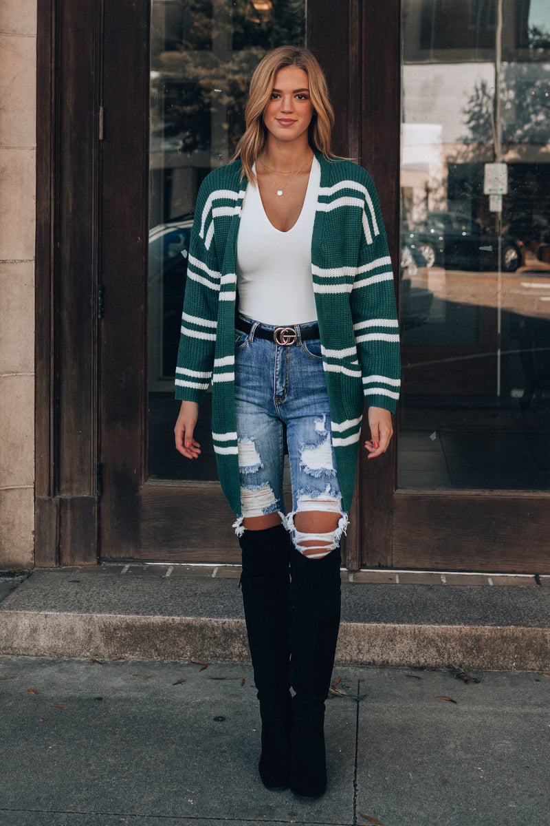 Rosland Striped Cardigan (Green)