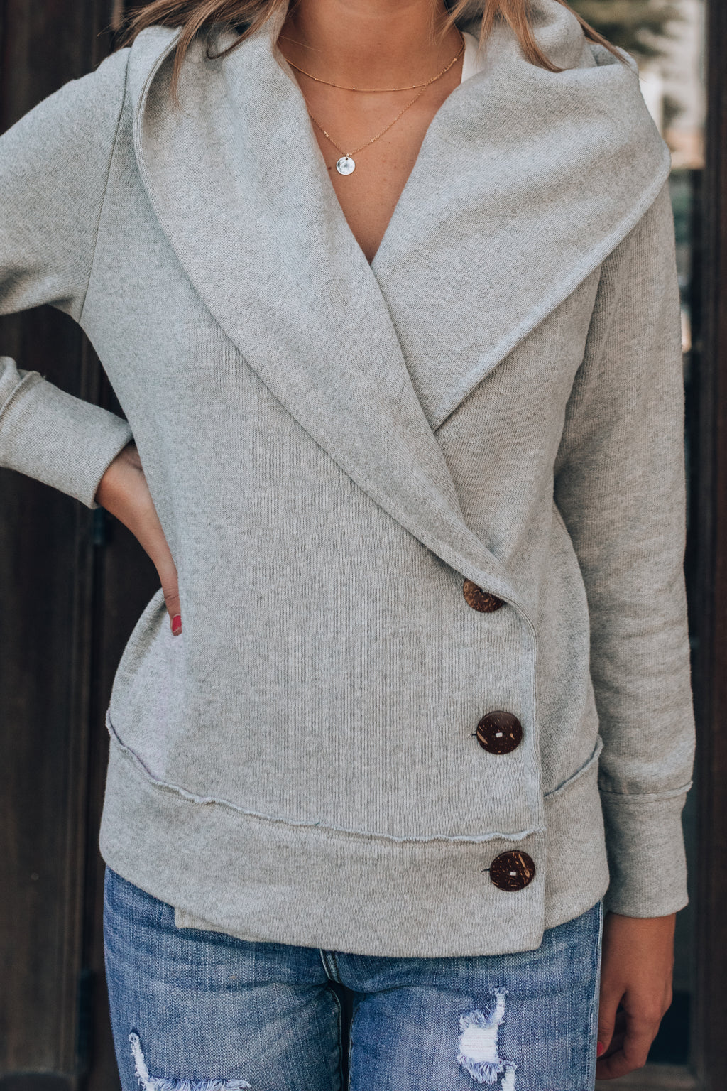 Big Plans Button Cardigan (Grey)