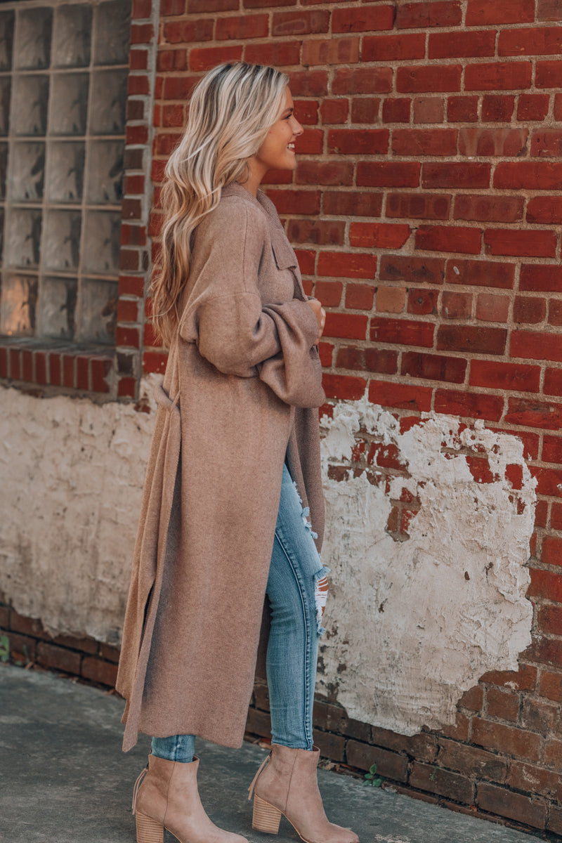 Effortless Knitted Trench Coat (Latte)