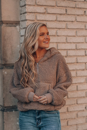 Cute and Cozy Fuzzy Pullover (Mocha)