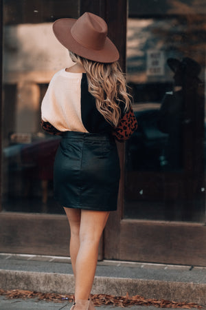 Miami Nights Leather Skirt (Black)