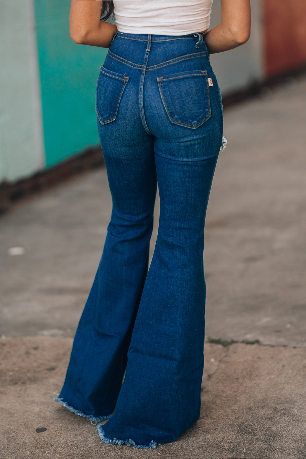 Wild Love Distressed Bell Bottoms (Dark Wash)