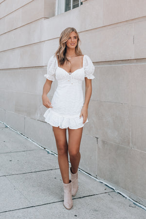 Azalea Eyelet Mini Dress (Ivory)