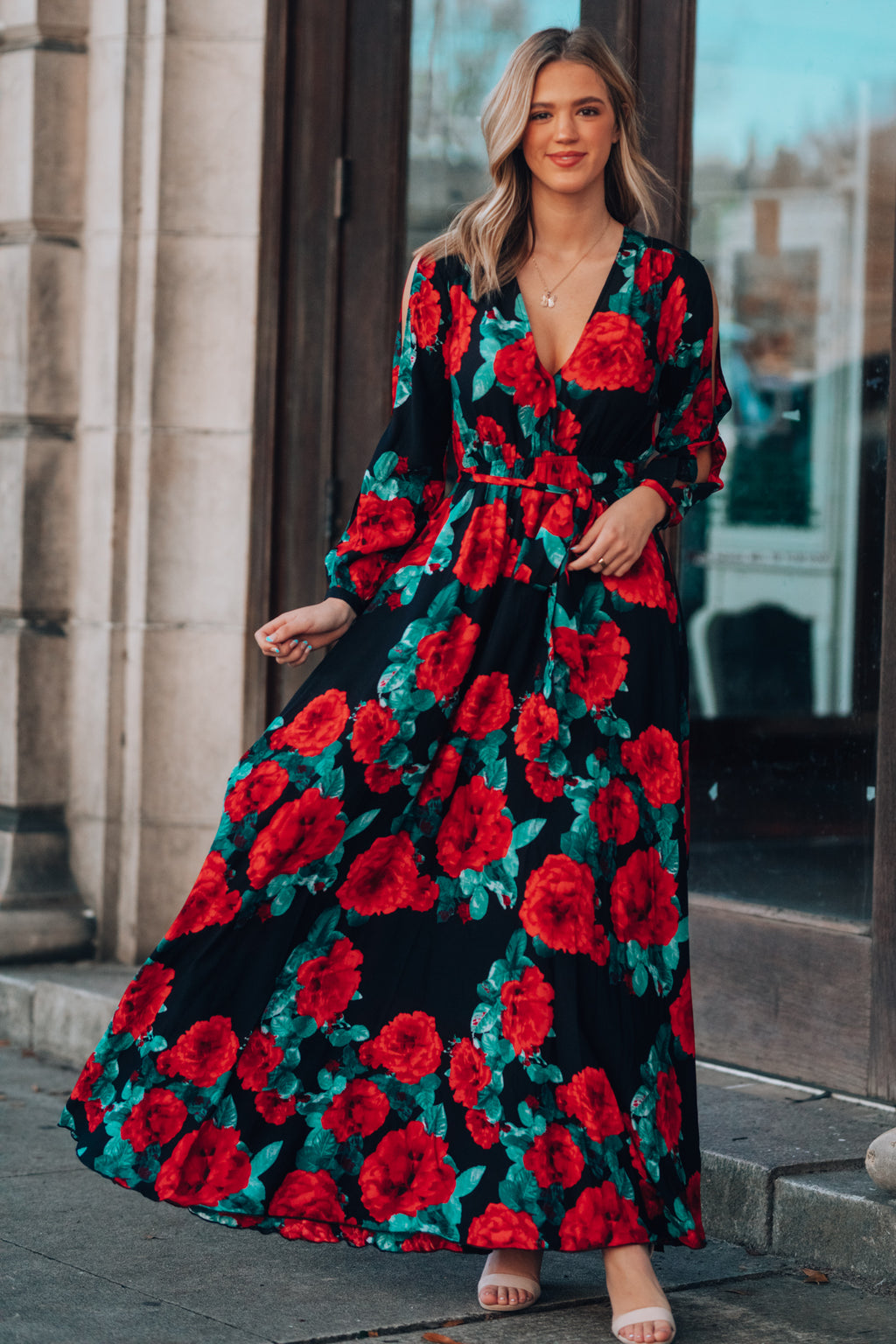 Smell The Roses Long Sleeve Maxi Dress