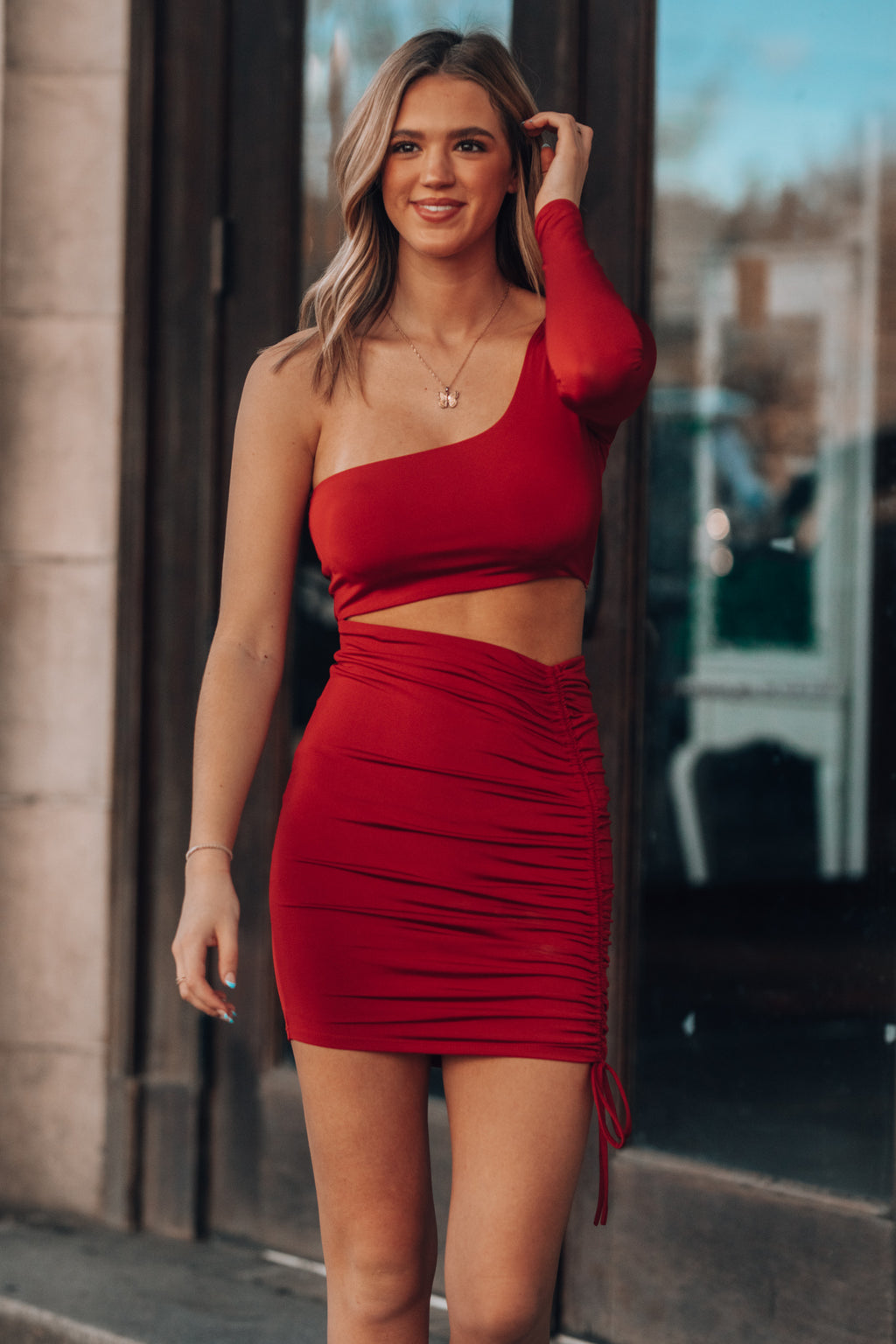 Got A Feeling Cinch Mini Dress (Red)