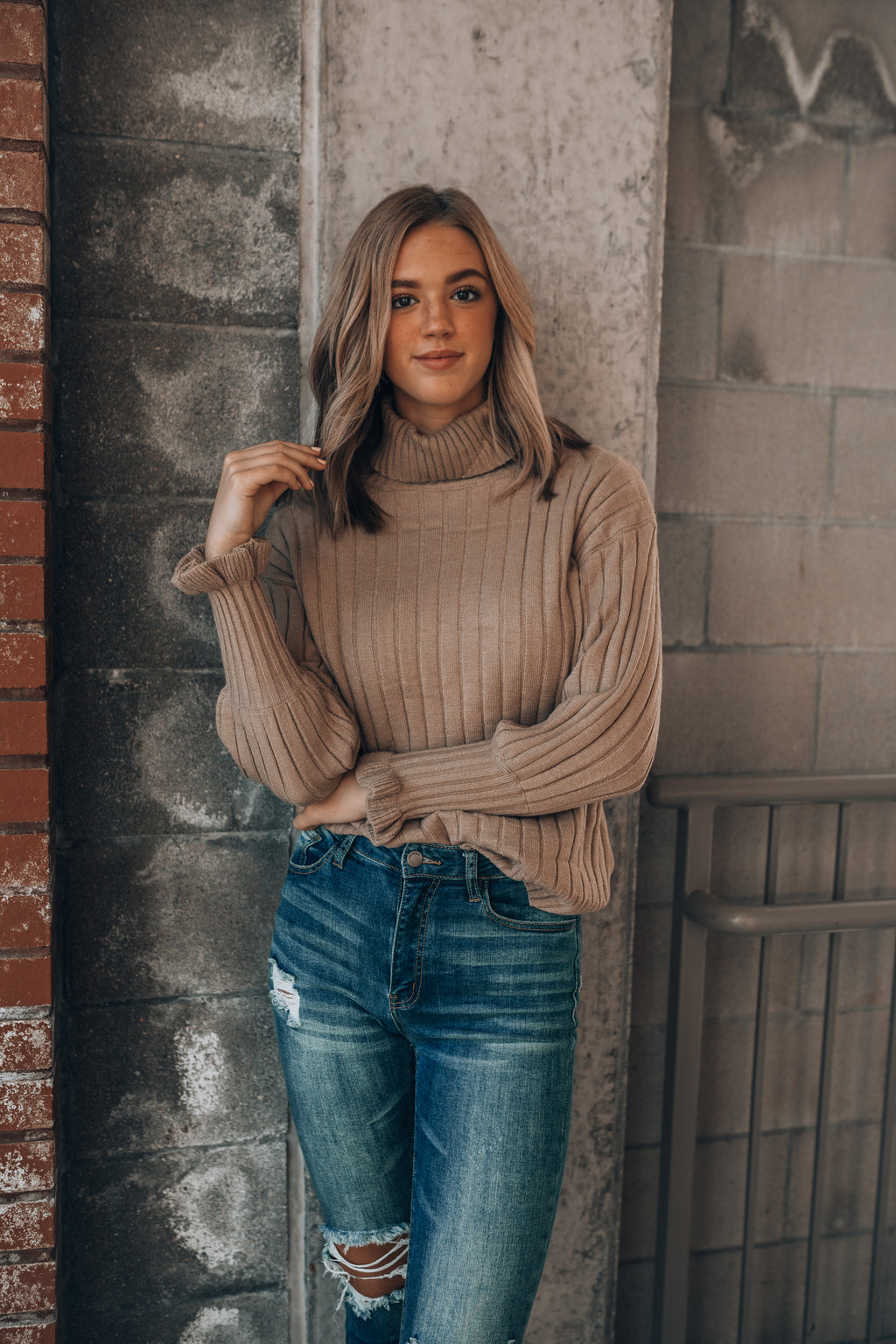 Carry You Close Ruffle Sweater (Taupe)