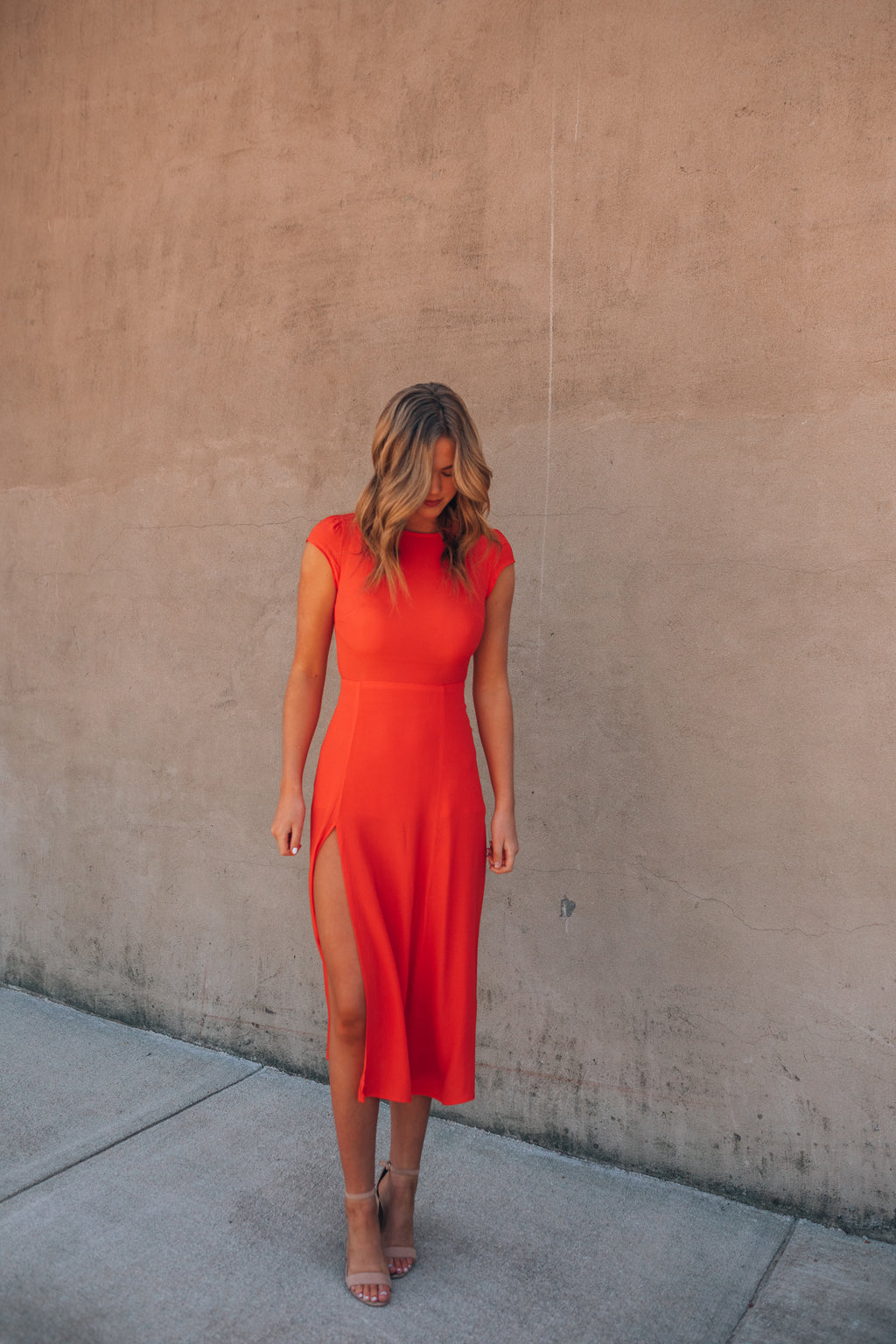 Denver Open Back Midi Dress (Tangerine)