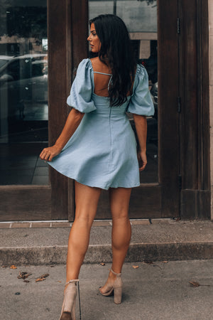 So Sweet Bow Mini Dress (Blue)