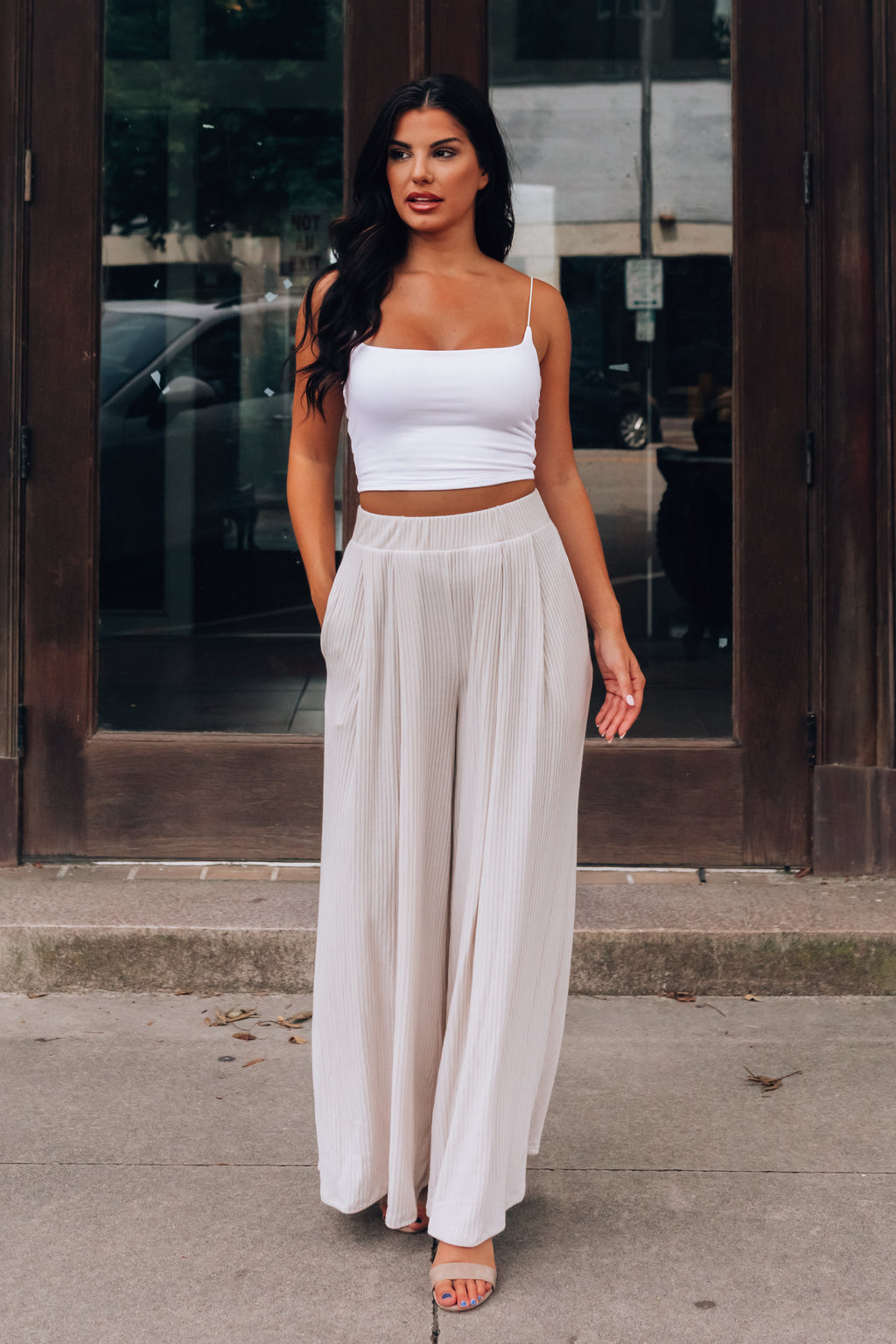 Essential Ribbed Pants (Cream)