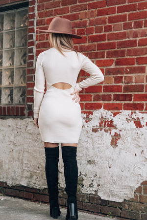 Back To You Sweater Dress (Cream)