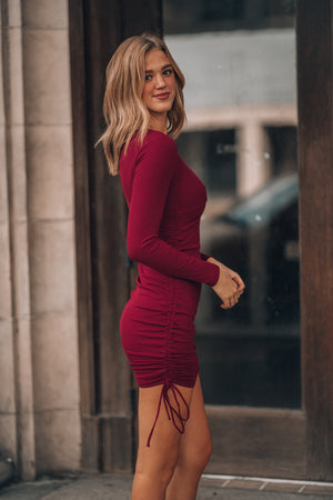 Kora Cinch Mini Dress (Burgundy)