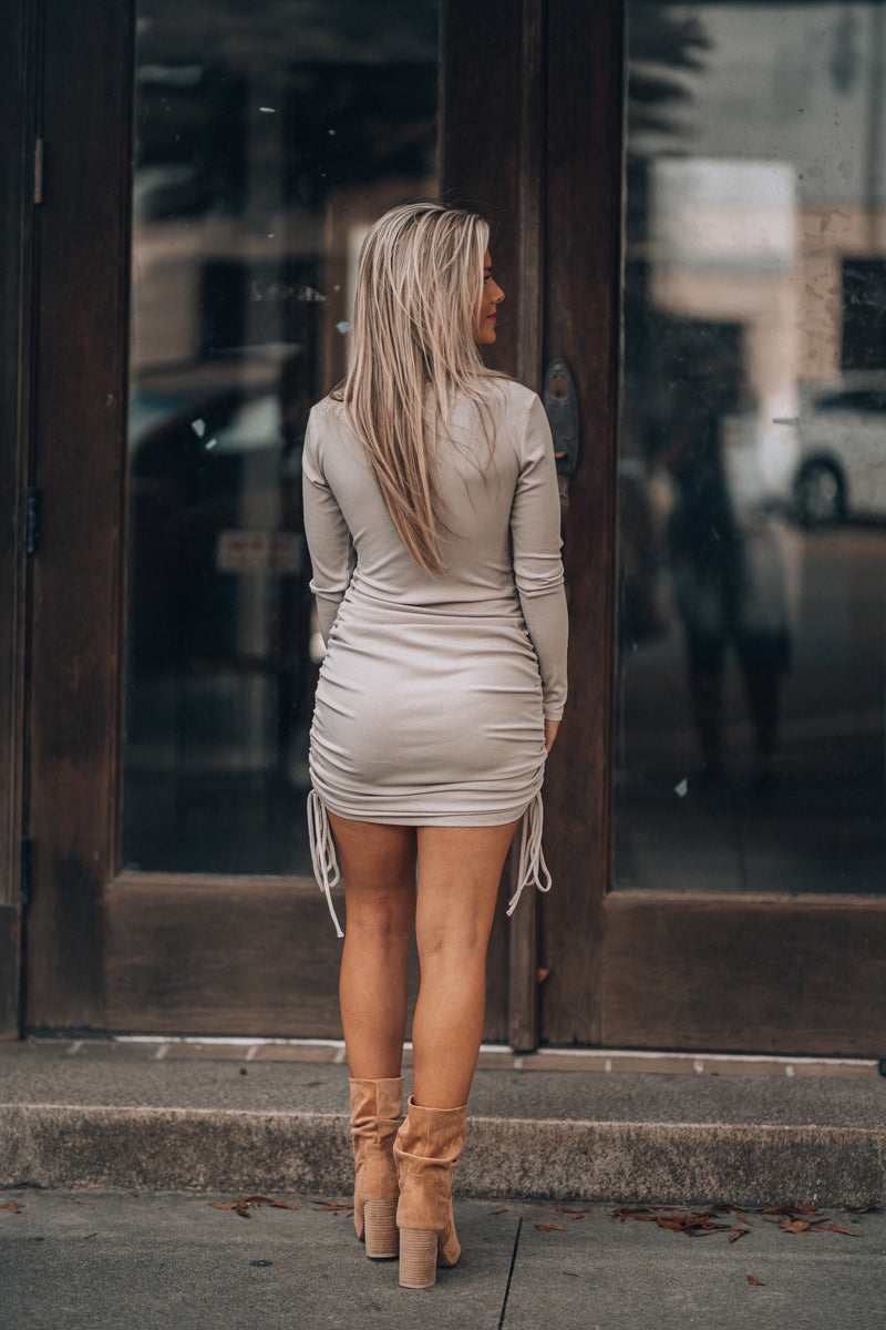 Kora Cinch Mini Dress (Taupe)