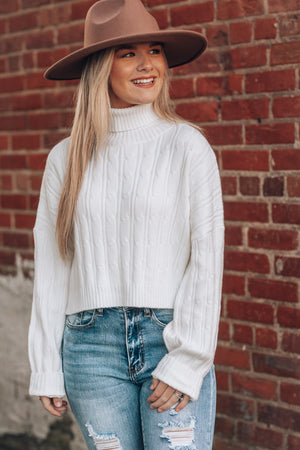 Snowed In Crop Turtleneck Sweater (White)
