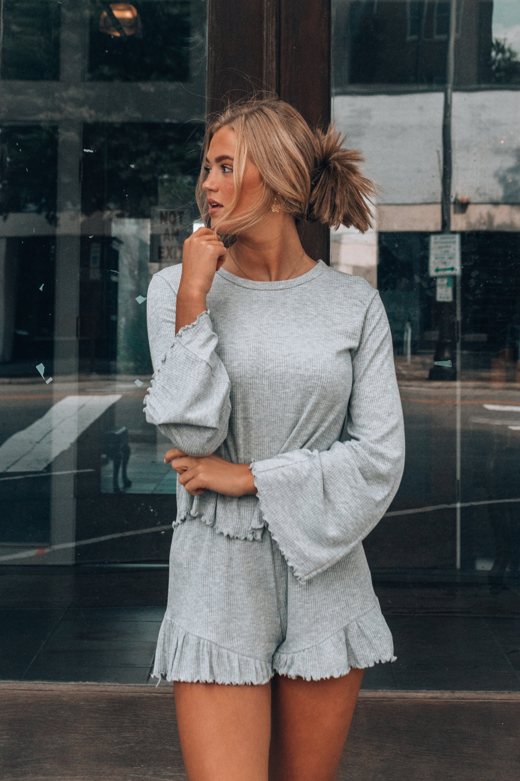 Dream Girl Ribbed Set (Heather Grey)