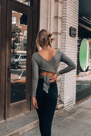 Run Wild Wrap Top (Olive)