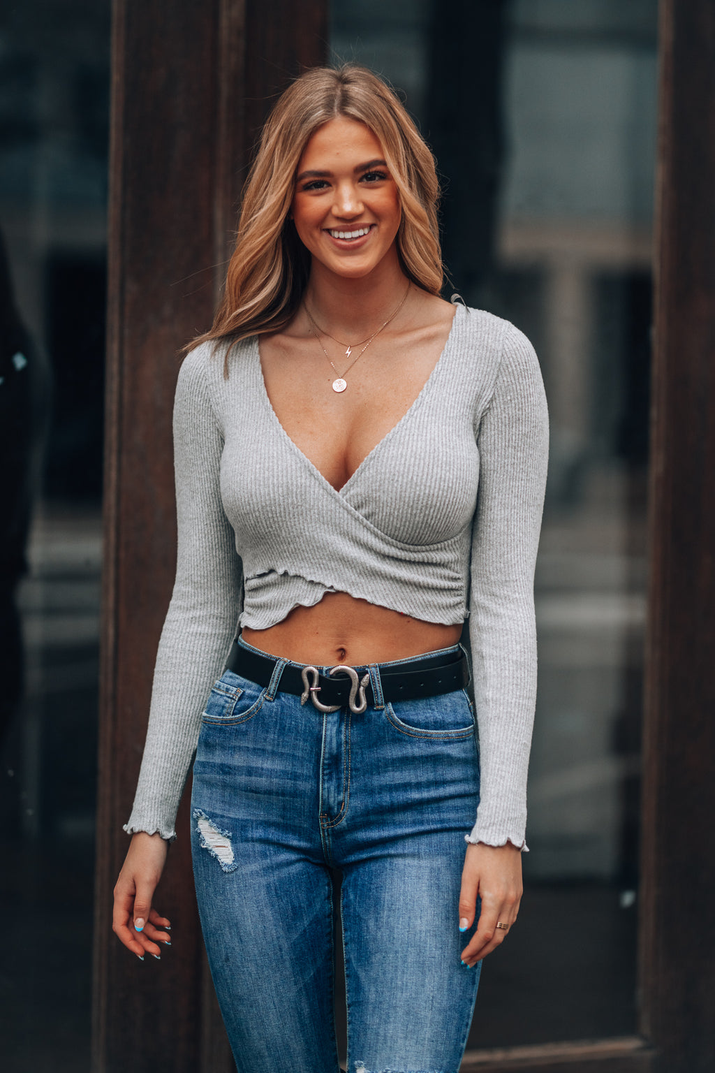 Stellar Ribbed Crop Top (Heather Grey)