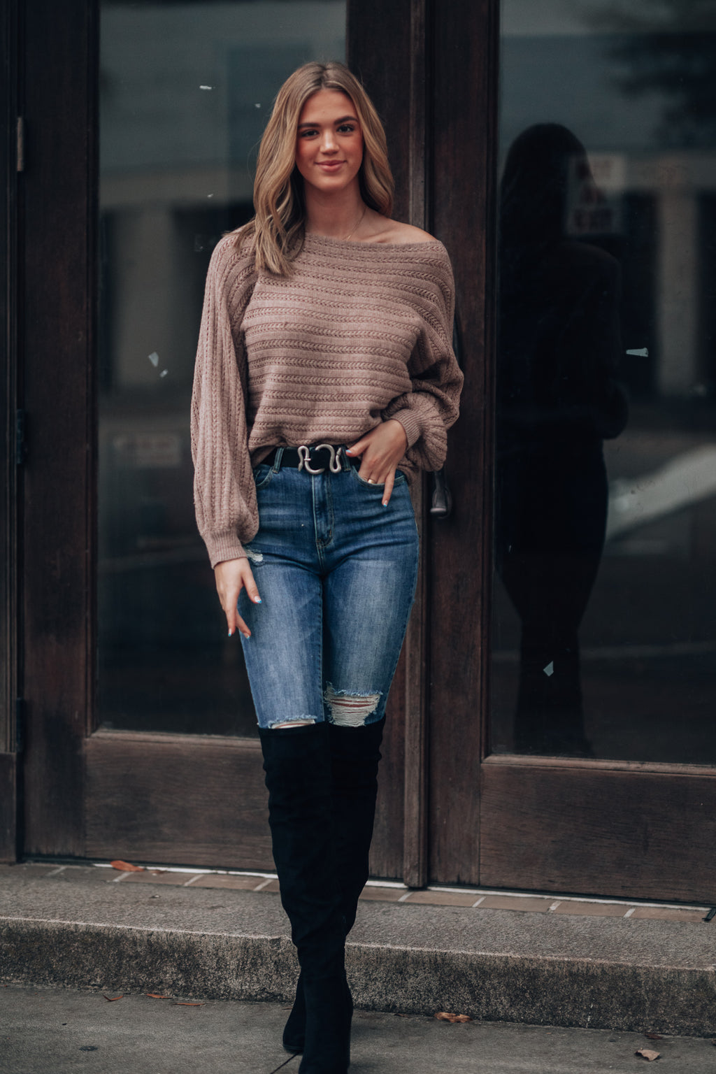 Highland Off Shoulder Sweater (Taupe)