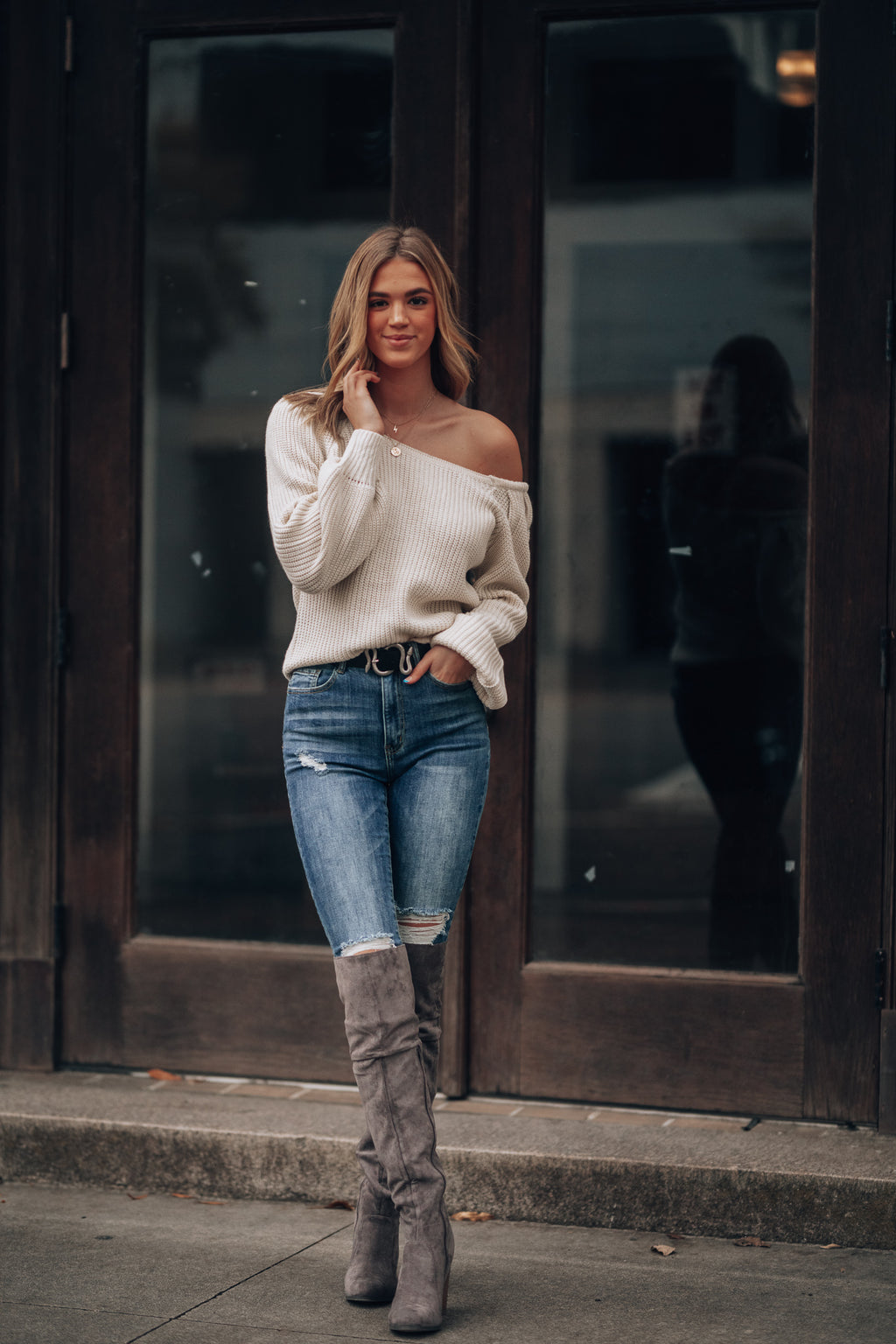 Say You're Mine Off Shoulder Sweater (Ivory)