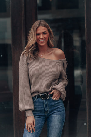 Say You're Mine Off Shoulder Sweater (Taupe grey)