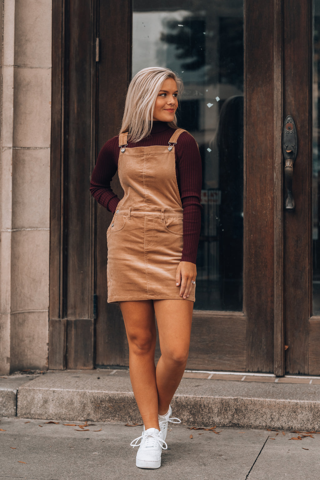 Sweet On You Corduroy Overall Dress (Camel)