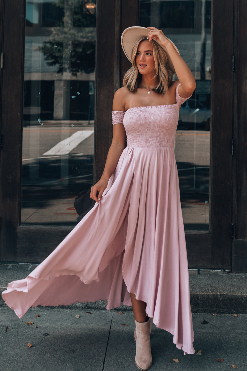 Harmony Hi-Low Dress (Blush)